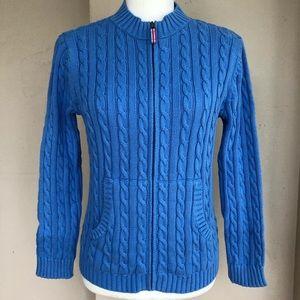 L.L. Bean Cable Knit Sweater Cardigan Blue 14/16 L